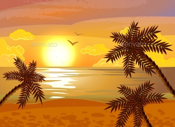 Tropical Beach Sunset Poster - Seasons/Holidays Conceptual