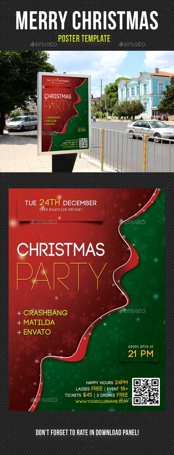 Merry Christmas Poster Template V01 - Signage Print Templates