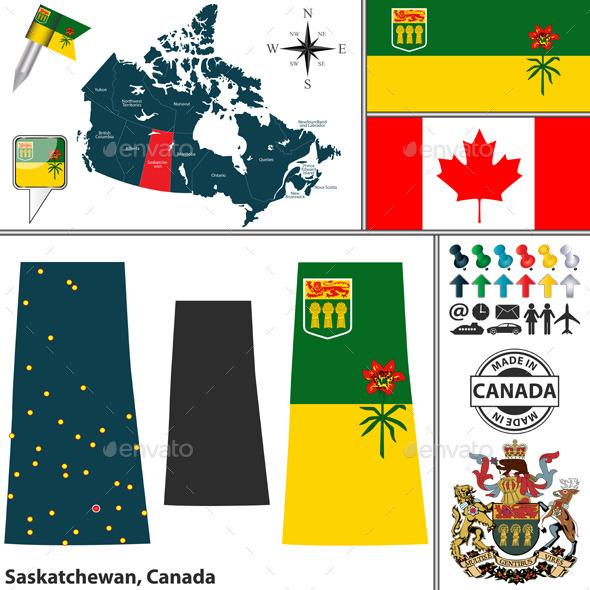 Map of Saskatchewan, Canada - Travel Conceptual