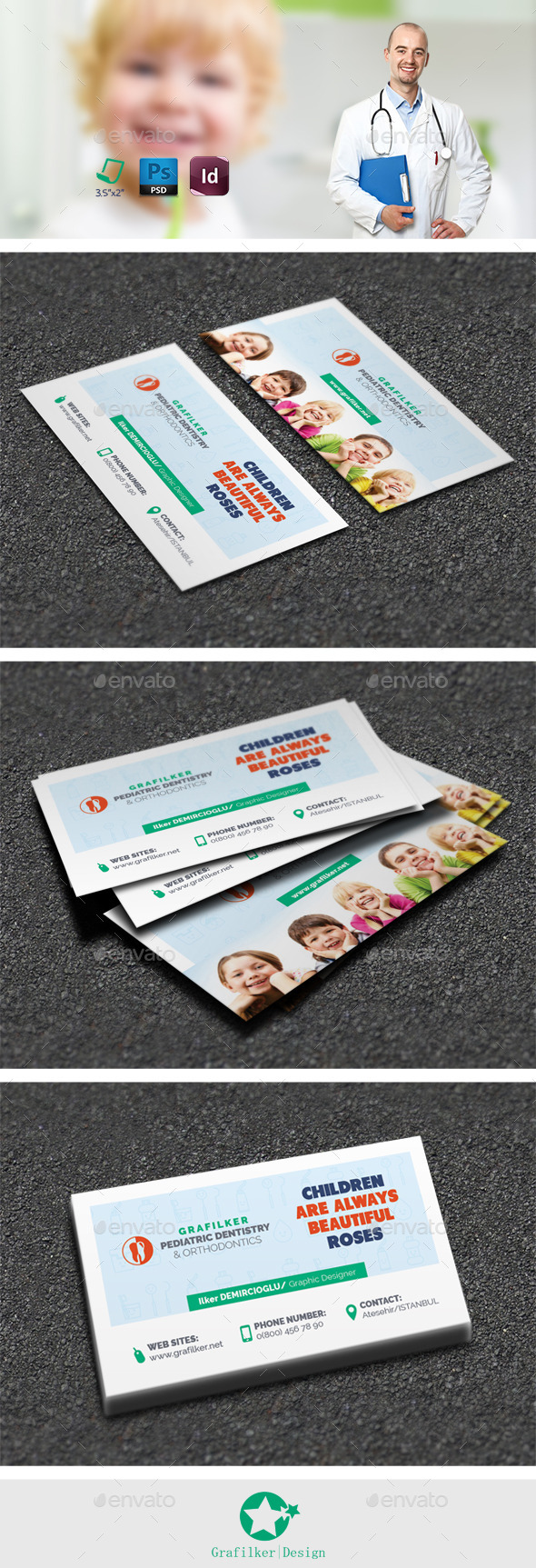 Kids Dental Business Card Templates - Corporate Business Cards