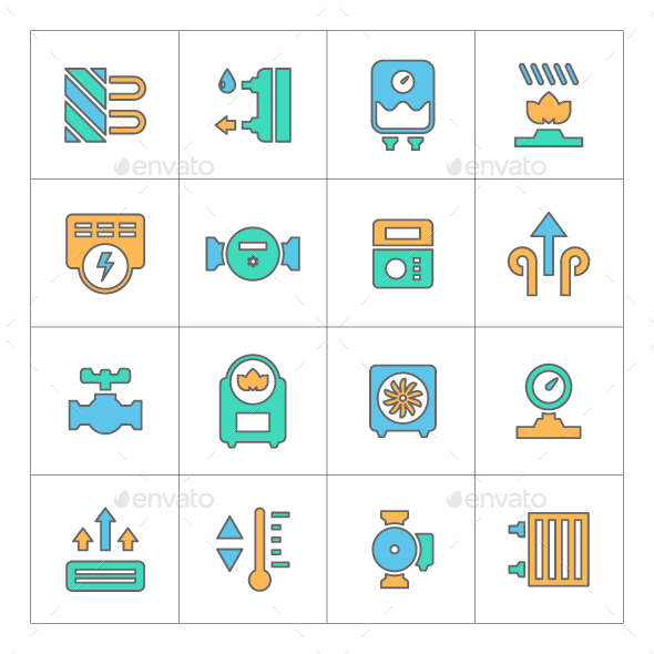 Set Line Icons of Heating - Man-made objects Objects