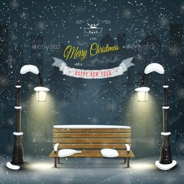 Decorated Christmas Board Vector Illustration.  - Christmas Seasons/Holidays