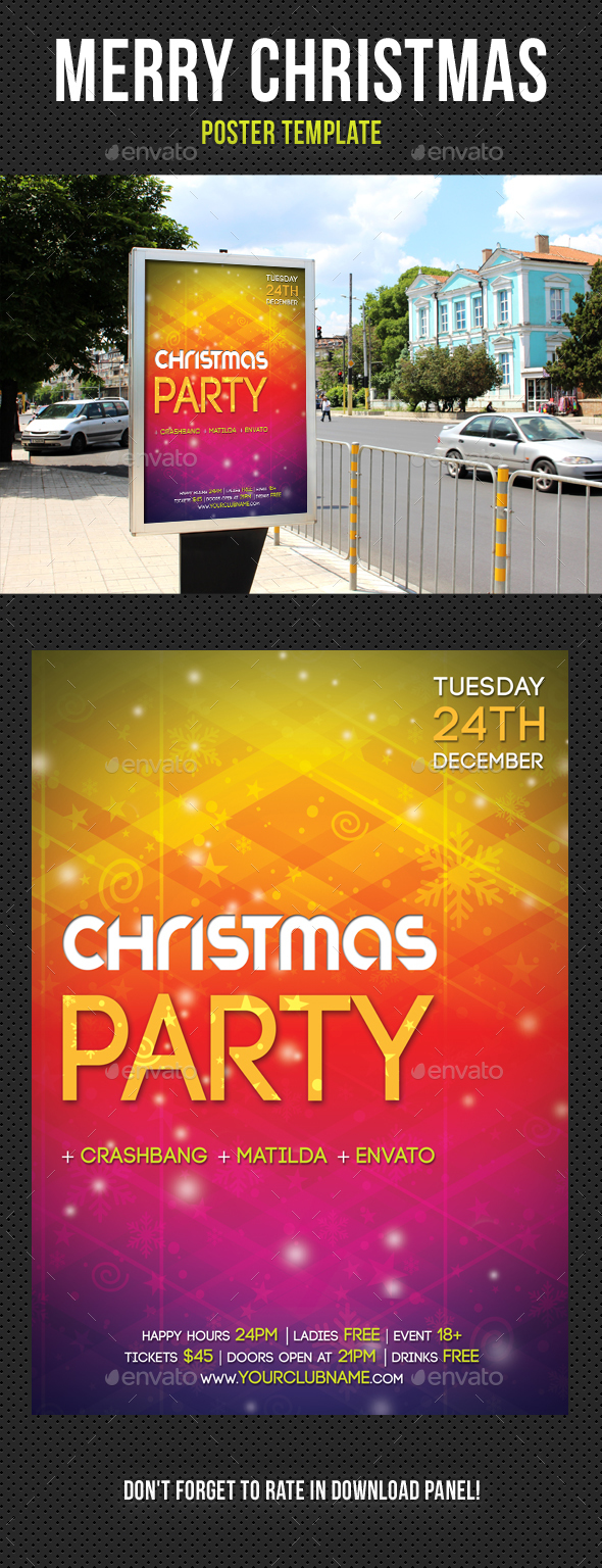 Merry Christmas Poster Template V02 - Signage Print Templates
