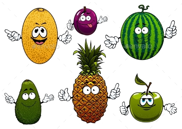 Juicy Ripe Cartoon Fruit Characters - Food Objects