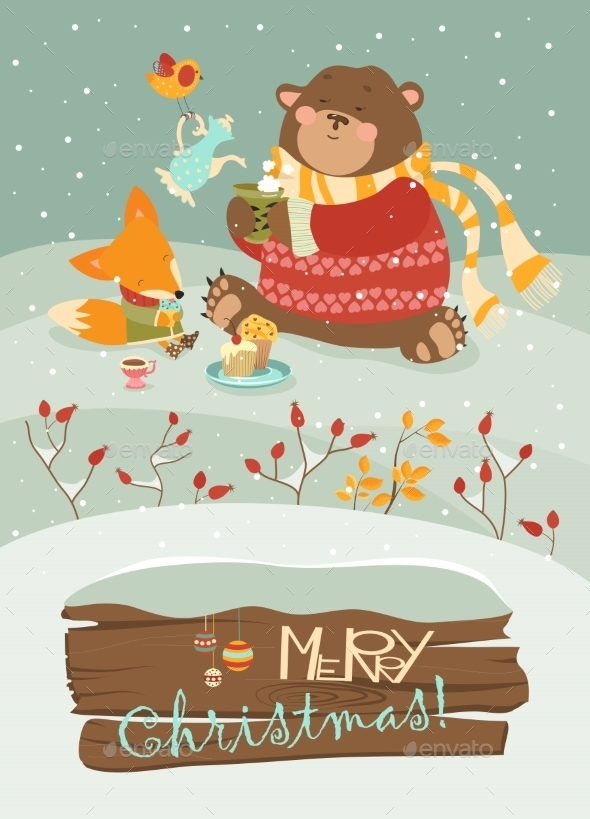 Cute Bear And Little Fox Celebrating Christmas - Christmas Seasons/Holidays