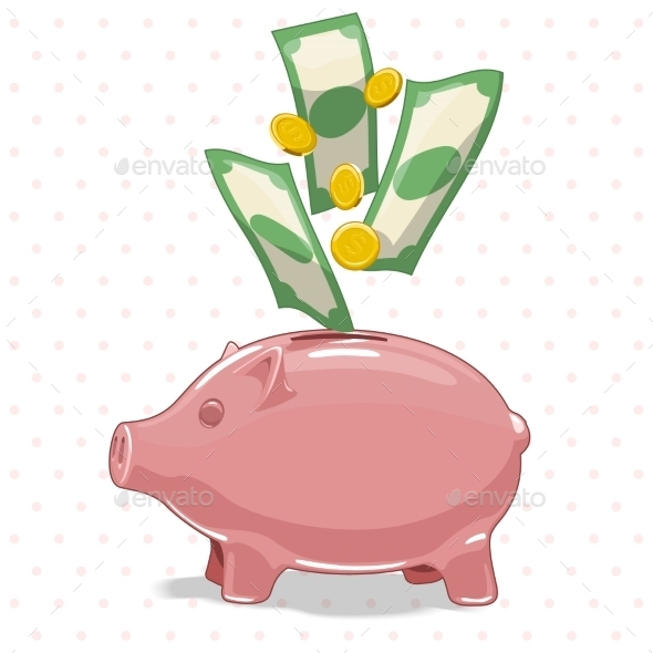 Piggy Bank With Money Vector Illustration - Concepts Business