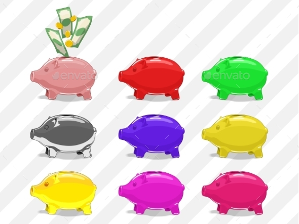 Set Of Piggy Bank Vector Illustration - Concepts Business