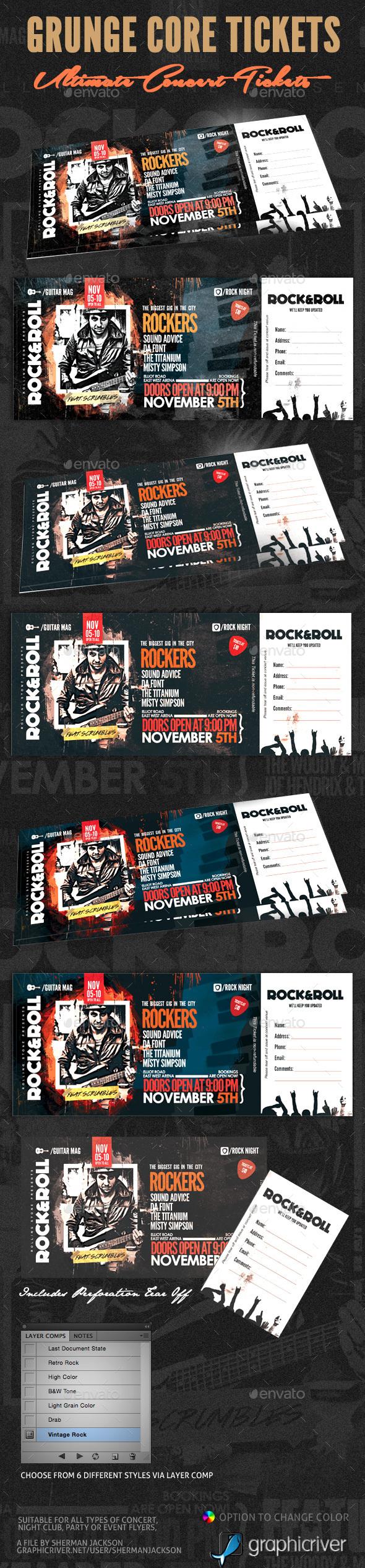 Grunge Core Concert Event Tickets - Miscellaneous Print Templates
