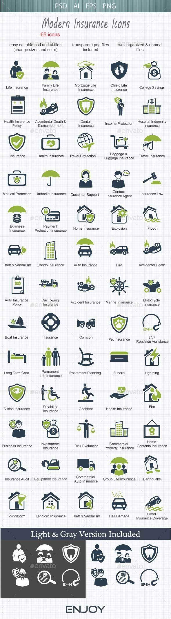 Modern  Insurance Icons - Business Icons
