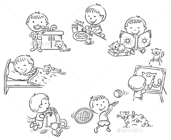 Little Boy's Daily Activities - People Characters