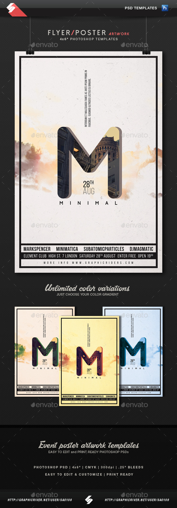 Minimal 3 - Party Flyer Artwork Template - Clubs & Parties Events