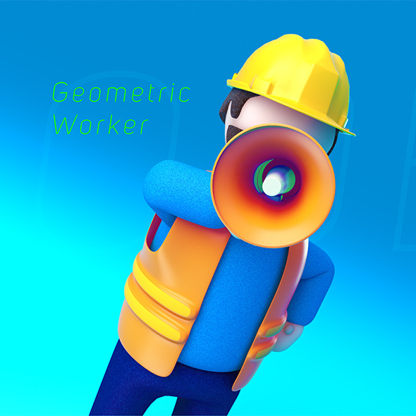 Geometric Low Poly Worker 01 - 3DOcean Item for Sale