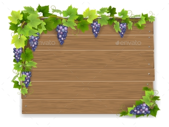 Branch of Grapes on Wooden Sign - Backgrounds Decorative