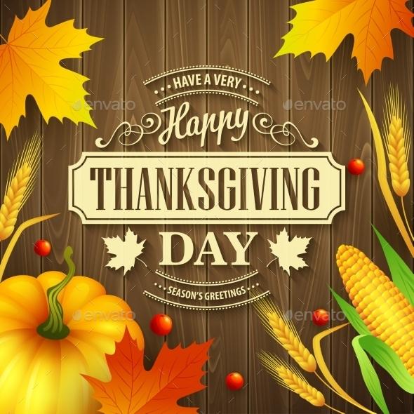Hand Drawn Thanksgiving Greeting Card - Seasons Nature