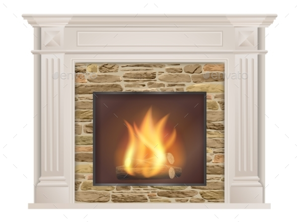 Classic Fireplace with Natural Stone and Furnace - Man-made Objects Objects