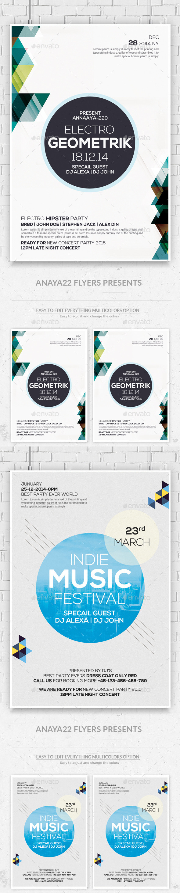 Geometric Flyers Bundle - Clubs & Parties Events