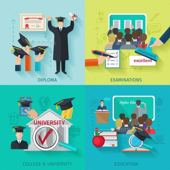 Higher Education Flat Set - Miscellaneous Vectors