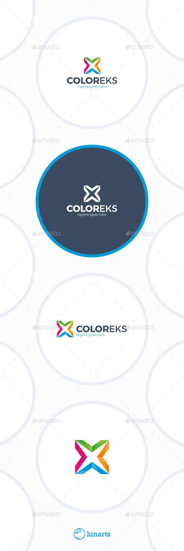 Color Letter X Logo - Letters Logo Templates