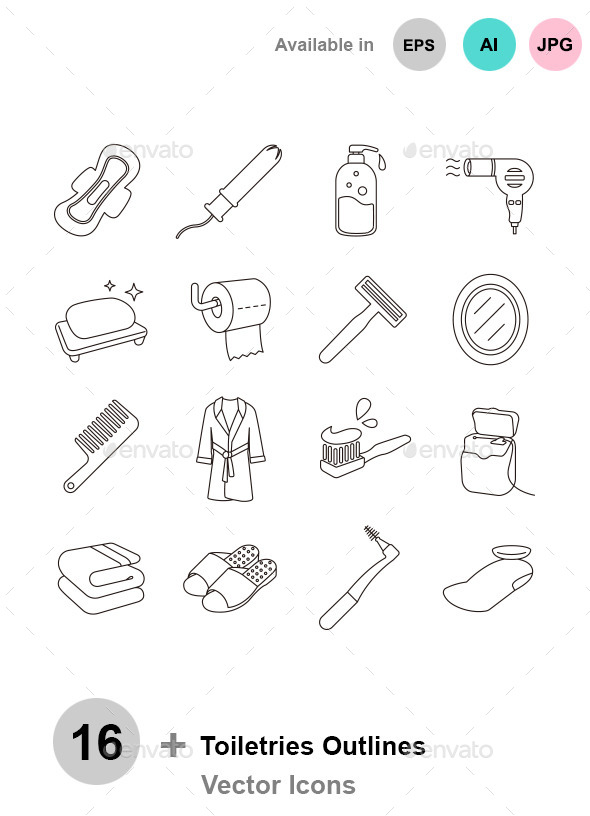 Toiletries Outlines Vector Icons - Man-made objects Objects