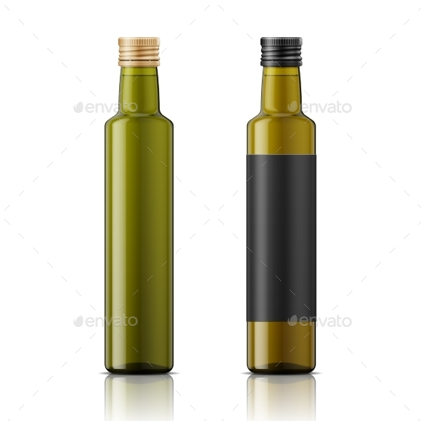 Olive Oil Bottle Template with Screw Cap - Food Objects
