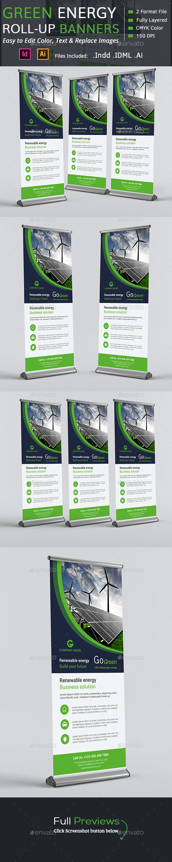 Green Energy Roll-up Banners - Signage Print Templates