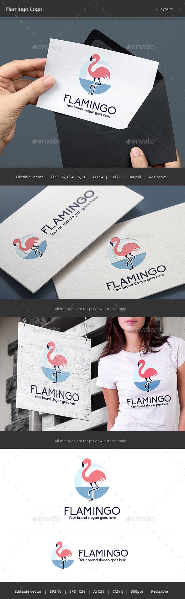 Flamingo Bird Woman Logo - Animals Logo Templates