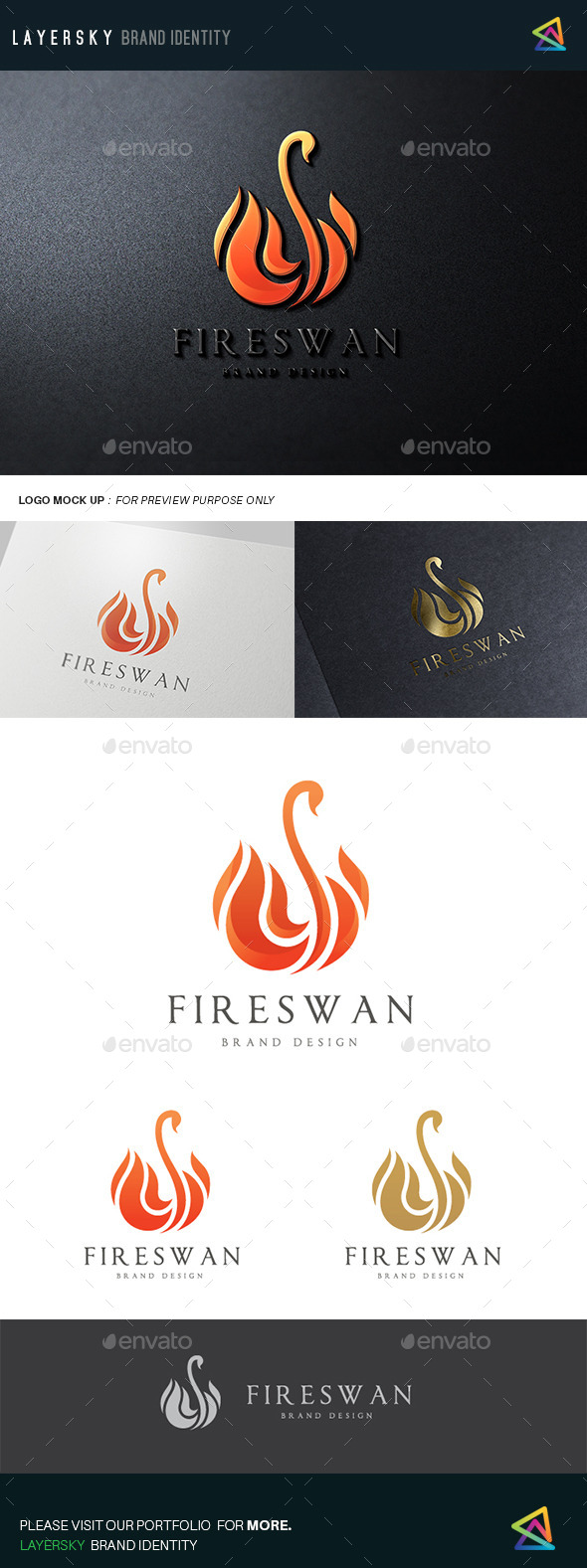 Fire Swan - Animals Logo Templates