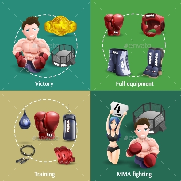 MMA Fighting 3D Icons Square  - Sports/Activity Conceptual