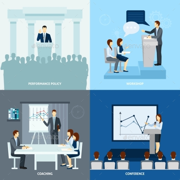 Publicly Speaking People 4 Flat Icons Square  - Industries Business