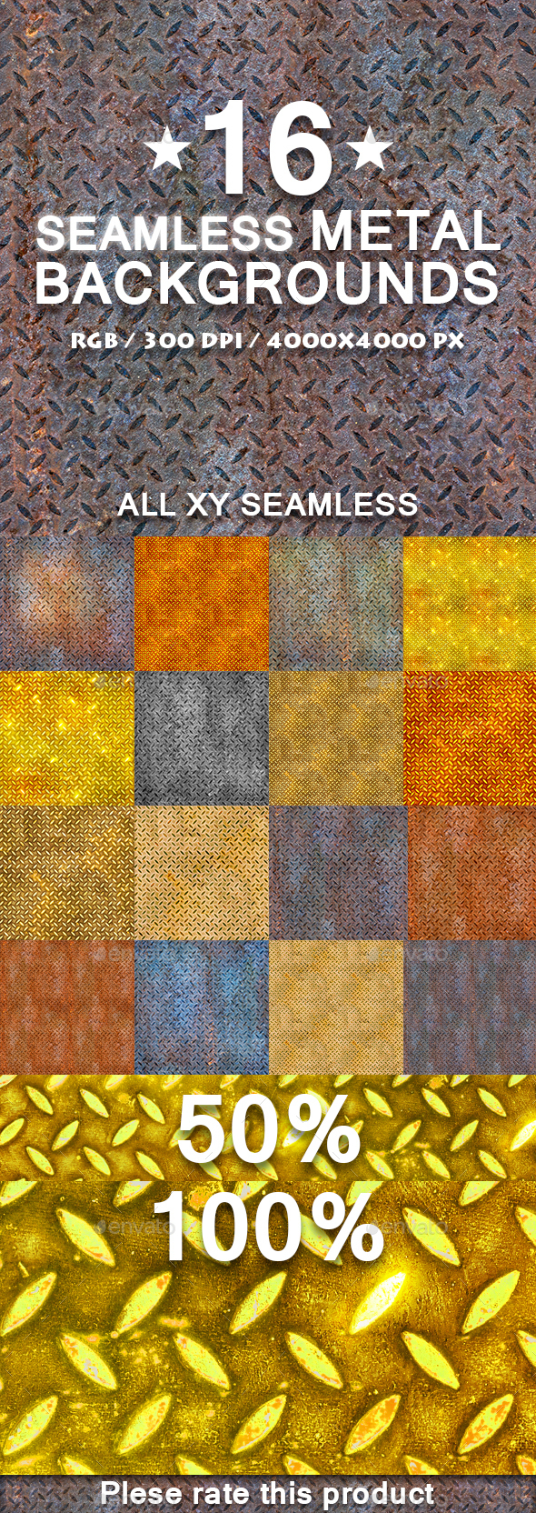 16 Seamless/Tileable rusted Metal Texture Patterns - Metal Textures