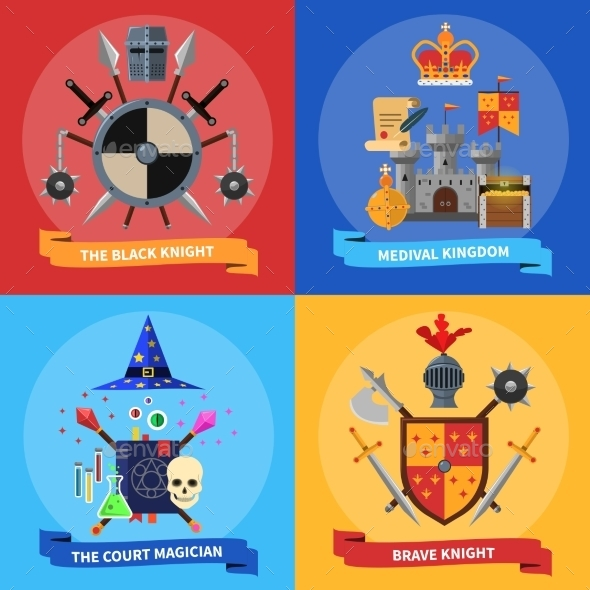 Knights Concept 4 Flat Icons Square - Miscellaneous Conceptual
