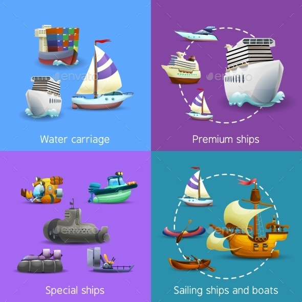 Water Transport Icons Set  - Travel Conceptual