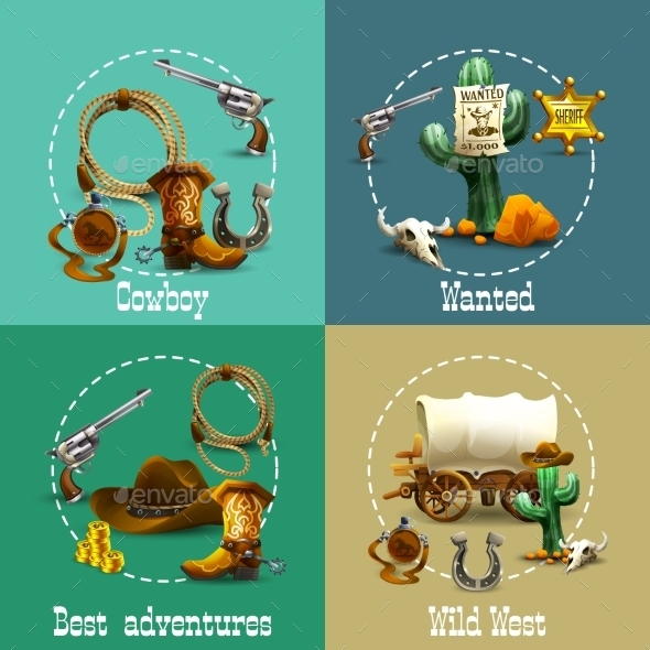 Wild West Adventures Icons Set - Travel Conceptual