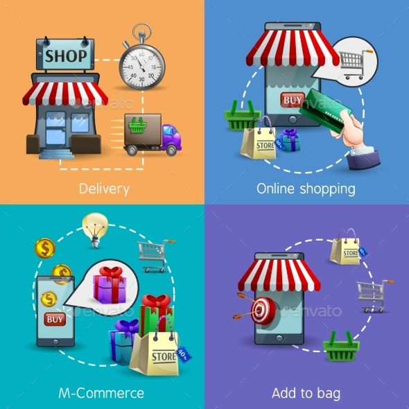 M-Commerce Icons Set - Retail Commercial / Shopping