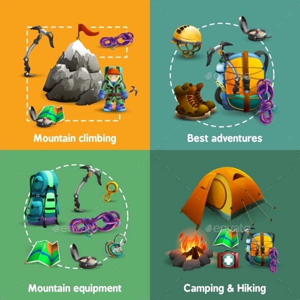 Climbing 3D Icons - Travel Conceptual