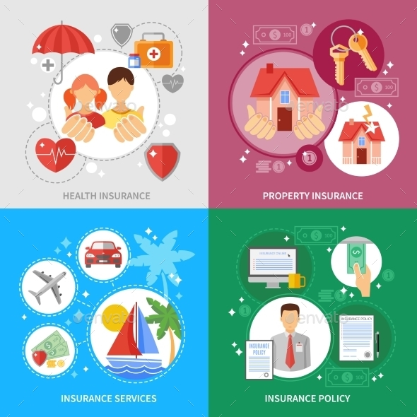 Insurance Concept Icons Set  - Concepts Business