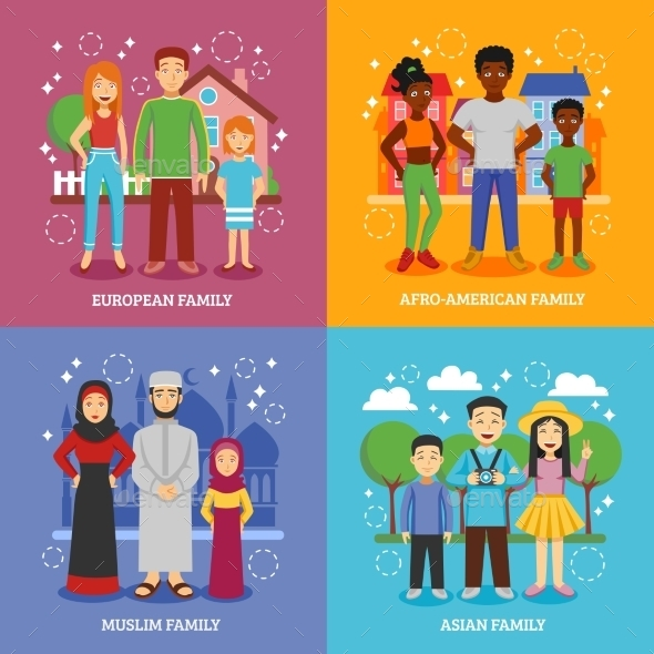 National Families Icons Set  - People Characters