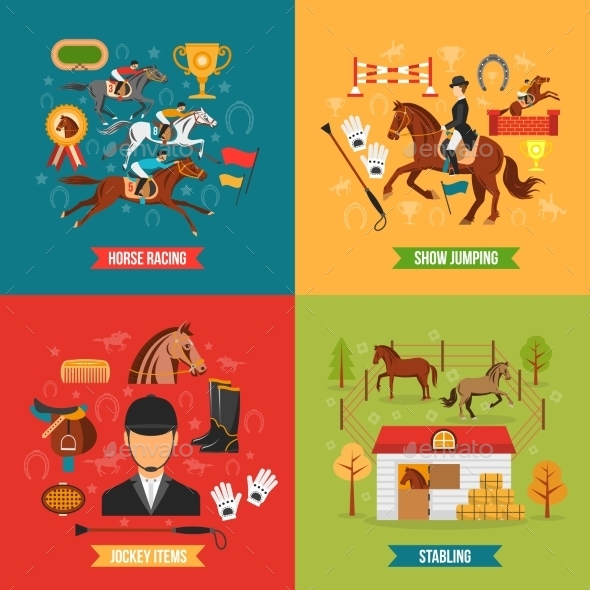 Horse Riding Design Concept Set  - Animals Characters
