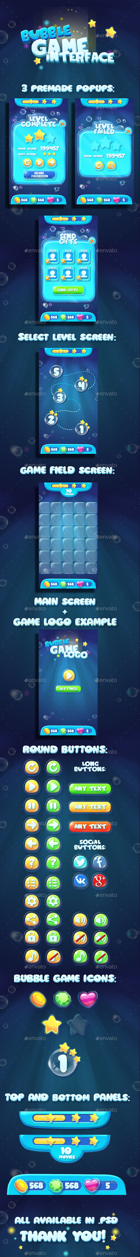 Bubble Water GUI Asset - User Interfaces Game Assets