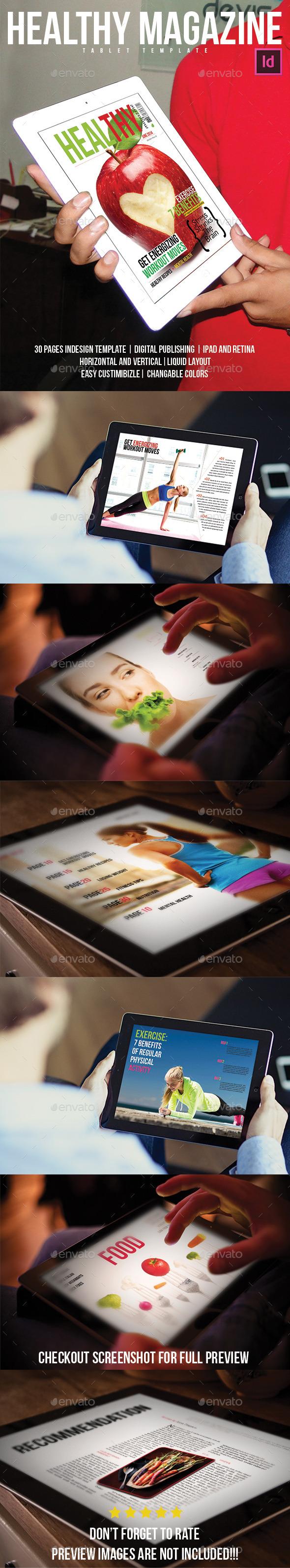 Healthy Magazine Tablet Template - Digital Magazines ePublishing