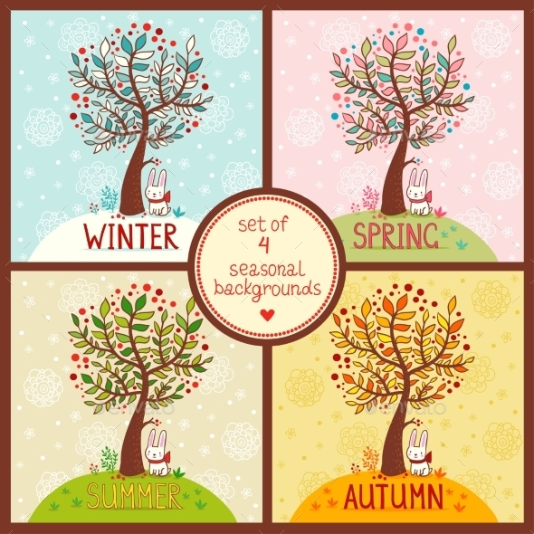 Set Of 4 Seasonal Backgrounds With Tree. - Seasons Nature