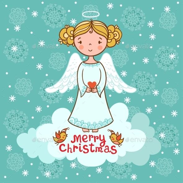 Christmas Card with an Angel - Christmas Seasons/Holidays