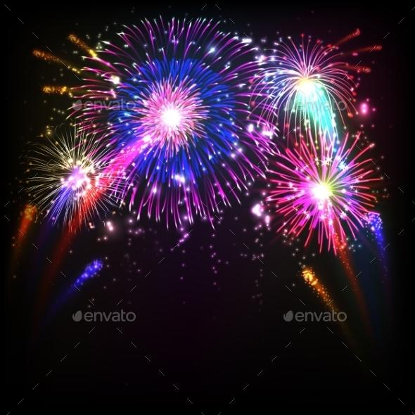 Fireworks Illustration - Backgrounds Decorative