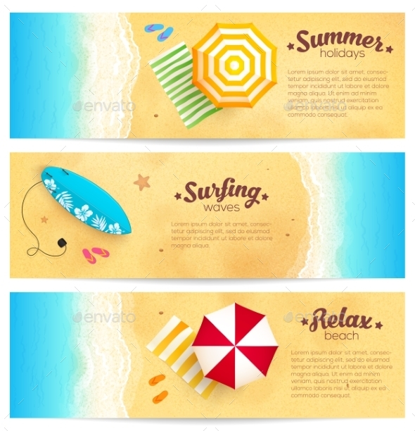 Set Of Summer Travel Banners With Beach Umbrellas - Travel Conceptual