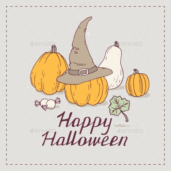 Hand Drawn Halloween Greeting Card With Pumpkins - Halloween Seasons/Holidays
