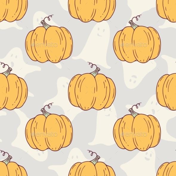 Hand Drawn Halloween Pumpkins Seamless Pattern - Patterns Decorative