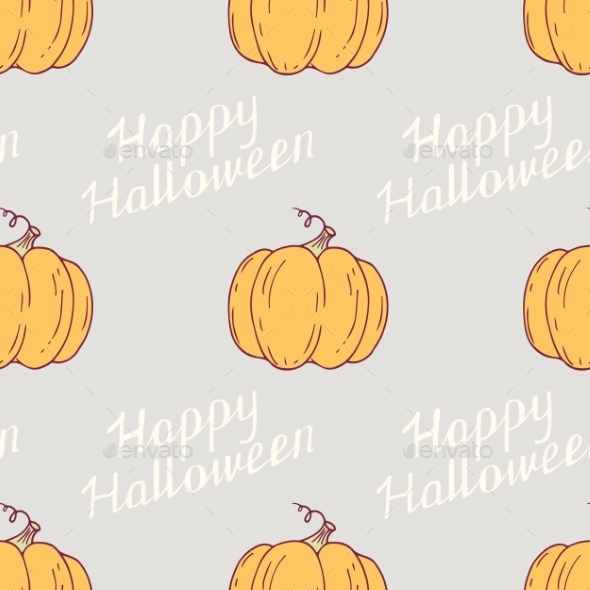 Hand Drawn Happy Halloween Seamless Pattern With - Halloween Seasons/Holidays