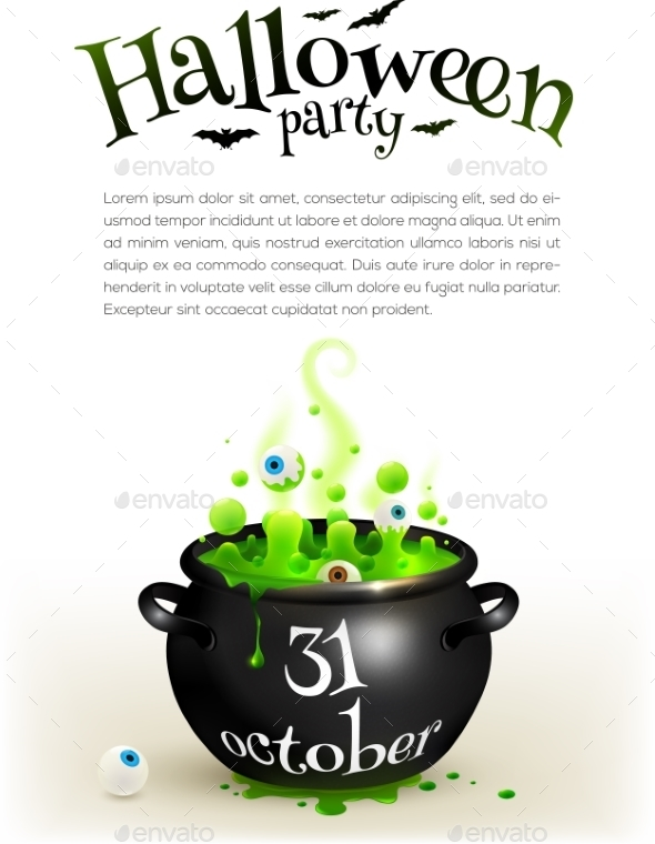 Black Witches Cauldron With Green Brew, Page - Halloween Seasons/Holidays