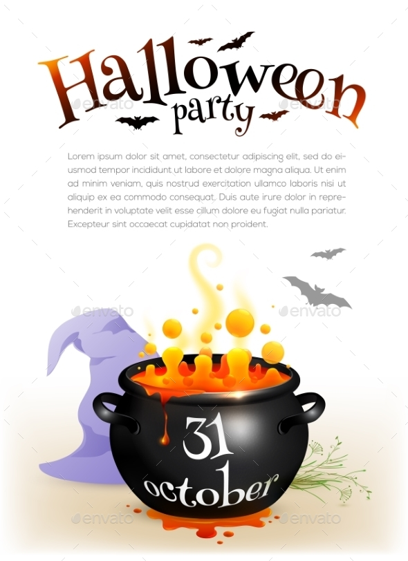 Black Witches Cauldron With Orange Brew - Halloween Seasons/Holidays
