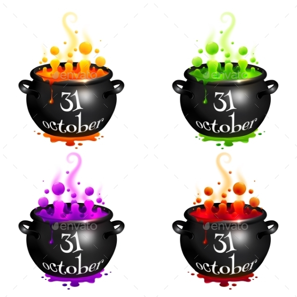 Set Of Witches Cauldrons With Colorful Brew - Halloween Seasons/Holidays